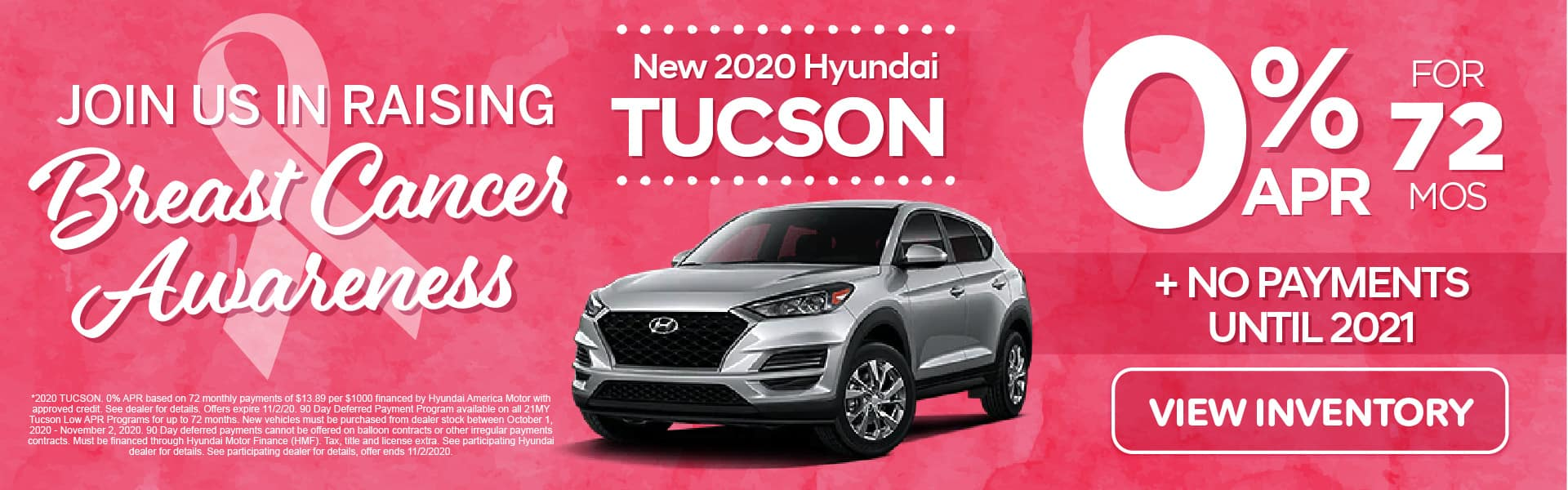 2020 Tucson 0% APR for 72 months