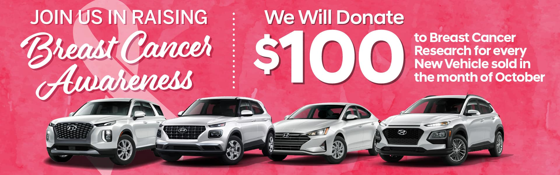 Join Us In Raising Breast Cancer Awareness - We will Donate $100 to breast cancer research for every new vehicle sold in October