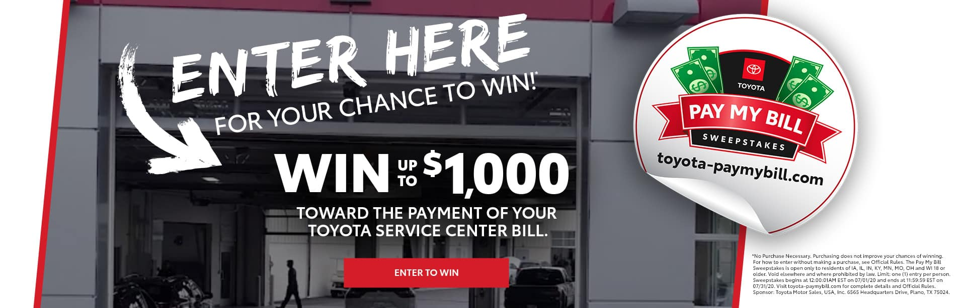 Team Toyota Pay My Bill Sweepstakes