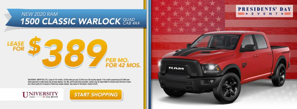 NEW 2020 RAM 1500 CLASSIC WARLOCK QUAD CAB® 4X4 6'4