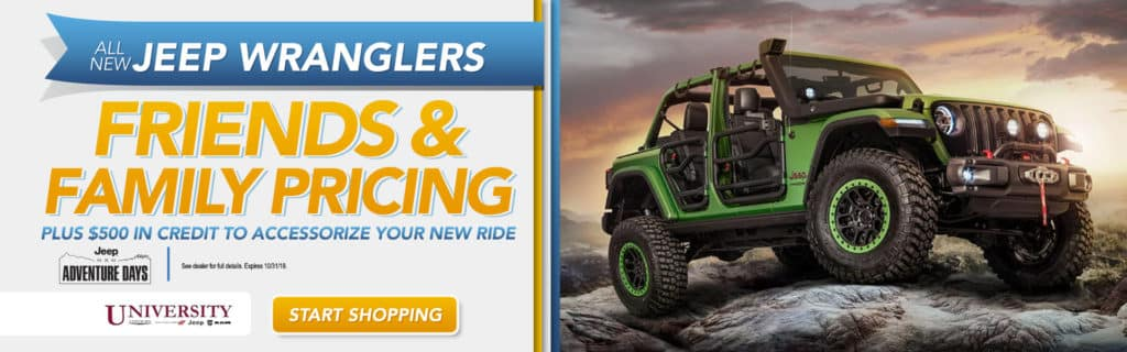 Friends and Family Pricing on All New Jeep Wranglers