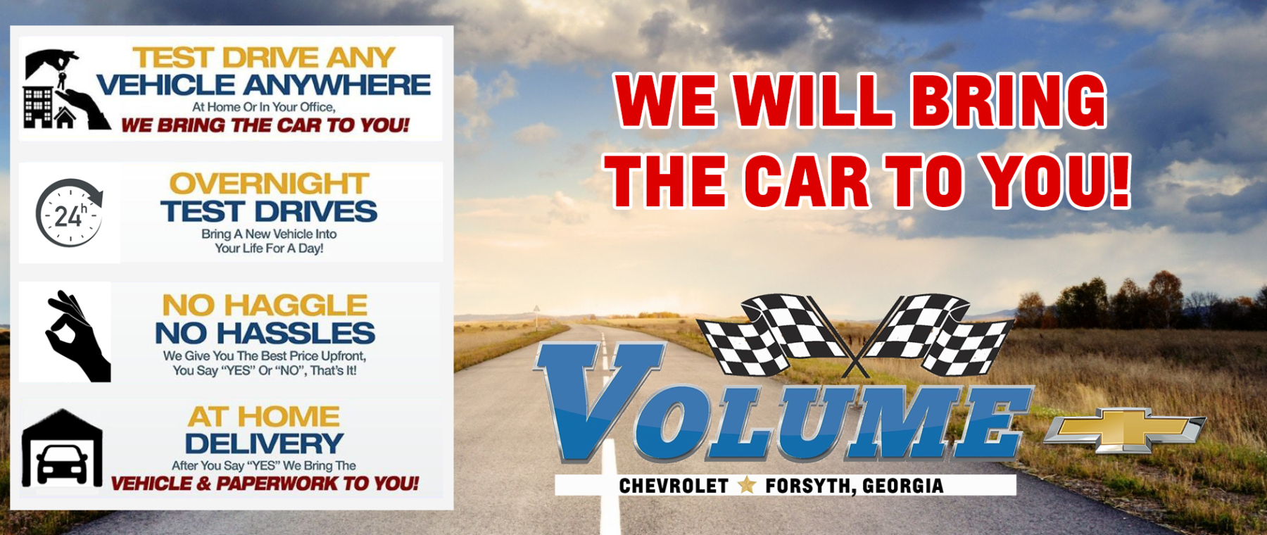 We will bring the car to you!