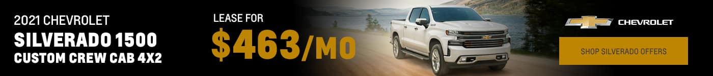 2021 Chevrolet Silverado 1500 Custom Crew Cab 4x2 for $463 per month