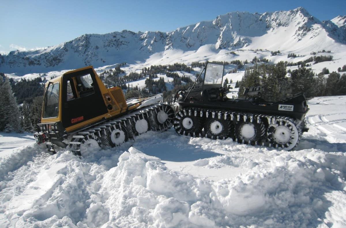 Argo 8x8 in snow with tracks