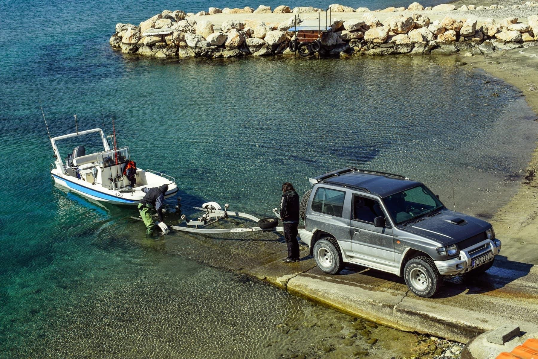 boat trailer in water