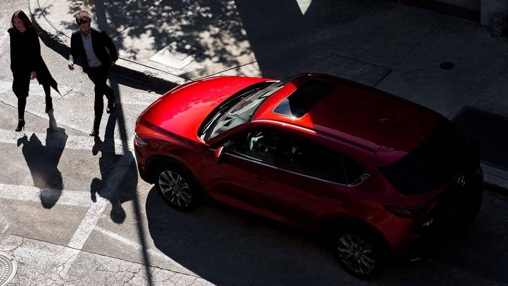 2019 Mazda CX-5 in Soul Red on a city street