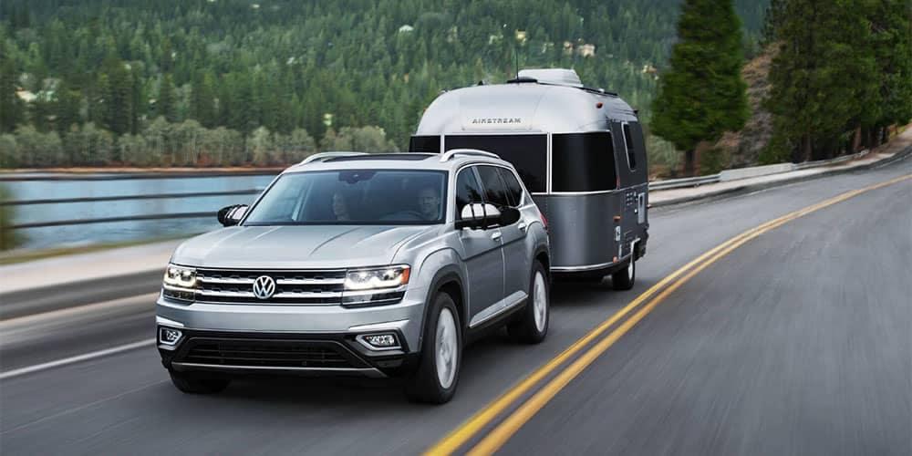 Volkswagen Atlas Towing a Small Camper
