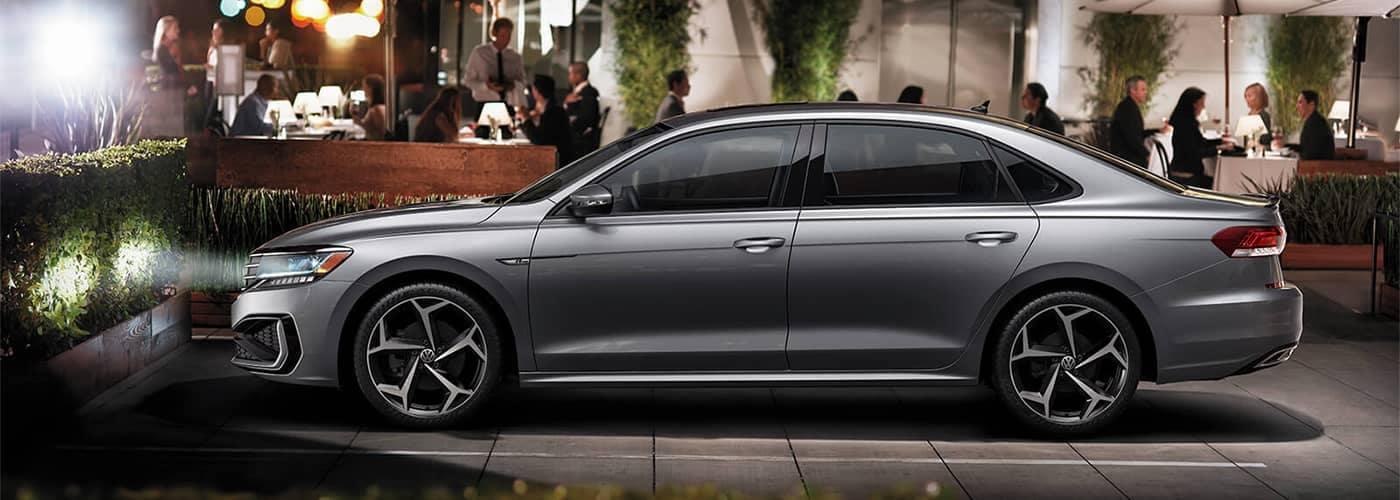 Volkswagen Passat Parked in Front of Restaurant
